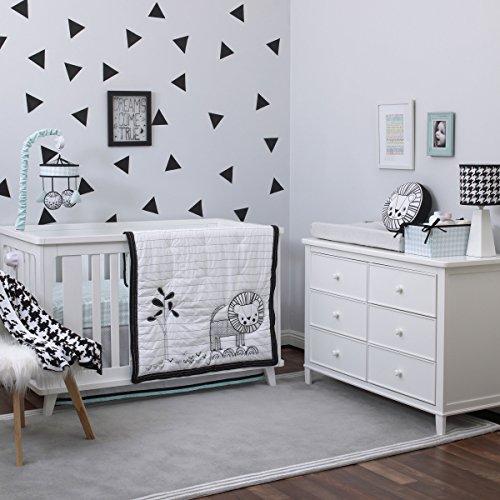 Roar 4 Piece Baby Crib Bedding Set - White, Black and Aqua Jungle Theme