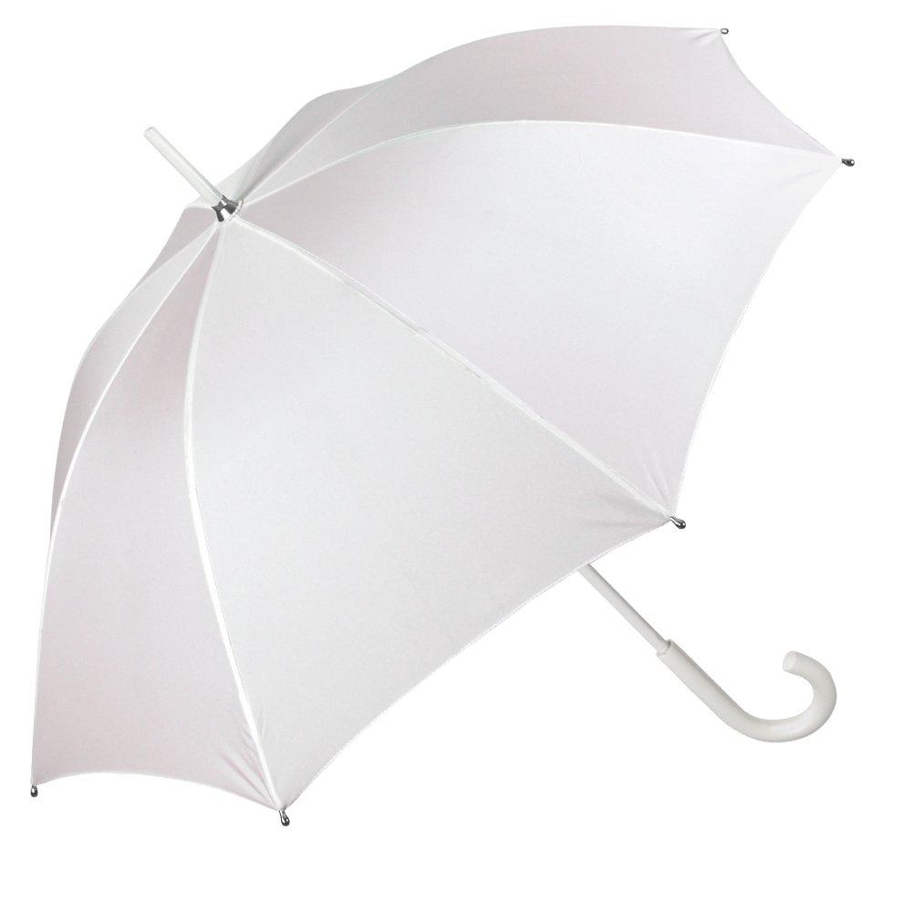 Brautschirm/Regenschirm / Sonnenschirm Perletti - weißer Stockschirm elegant für die Hochzeit - Schirm für Festliche Anlässe, bei Regen und Sonne - Durchmesser 95 cm 12012