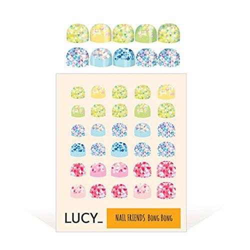 Bong Bong Non-Toxic Nail Art Stickers For Kids 3-7yo – Colorful, Cute, Super Hero, Glitter – Long Lasting (30 Stickers) (Glitter Pastel)