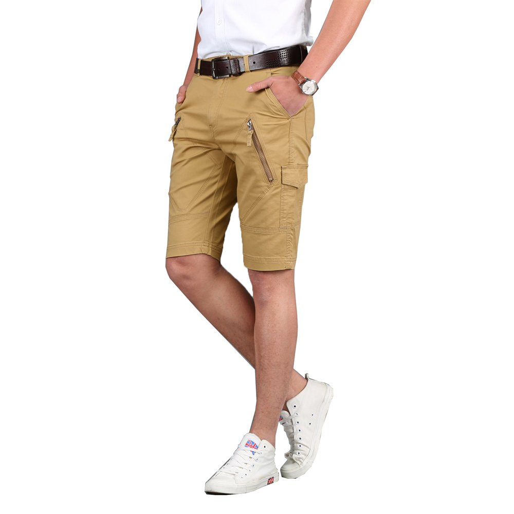 e-supao Summer Men's Slim Fit Flat Front Cotton Frickin Chino Cargo Casual Shorts for Men with Pockets (38, Khaki)