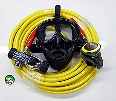 BROWNIES Kayak Dive Kit with Regulator Rubber Full Face Mask 50' Long Hose Gauge Hookah Diving Third Lung Commercial Boat Cleaning Scuba