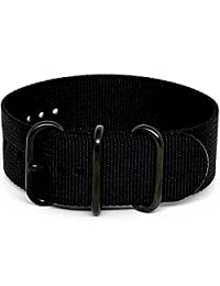 DaLuca Ballistic Nylon NATO 1 Piece Watch Strap - Black (PVD Buckle) : 20mm