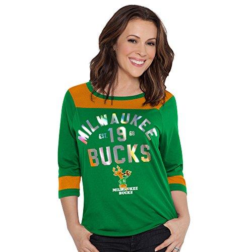 Touch by Alyssa Milano NBA Milwaukee Bucks Kick-Off Tee, Medium, Green