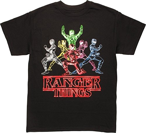 Power Rangers Stranger Things Parody Ranger Things T-Shirt, Black, -