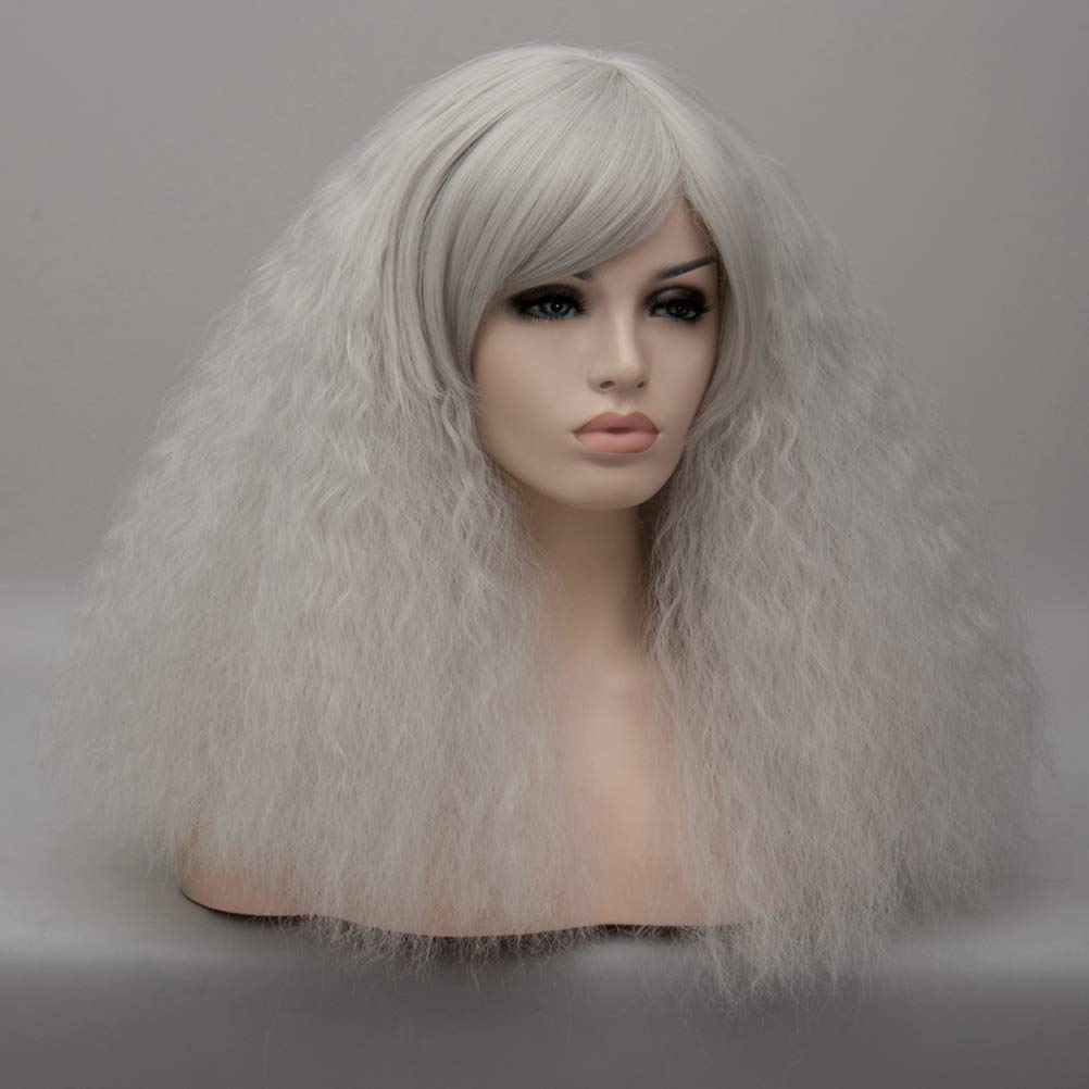 Lurrose Pelucas mullidas largas de color gris plateado para mujeres pelucas rizadas sintéticas con casquillo de peluca: Amazon.es: Belleza