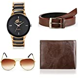 Arum Special Combo of Black&Copper Watch, Brown Wallet &Sunglass With Belt Combo AWWSGB-008