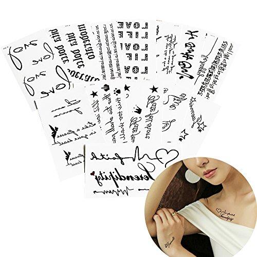 25 Sheets Black Body Tattoo Fake English Words Lover Art Temporary Tattoo Sticker from glaryyears