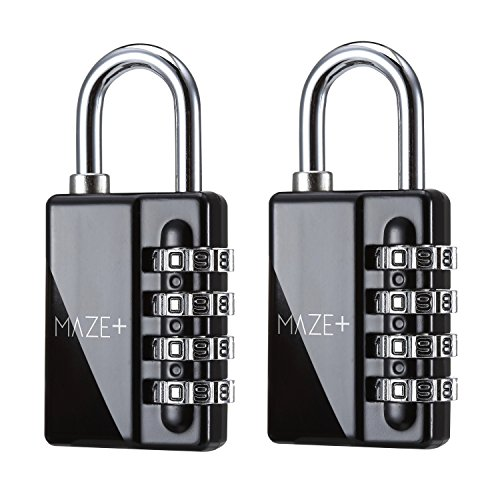 Keyless Padlocks (MazePlus 4 Digit Combination High Security Resettable Padlocks Black 2-Pack - Heavy Duty Weatherproof Construction - Ideal For Lockers, Suitcases, Travel Bags, Chains &)