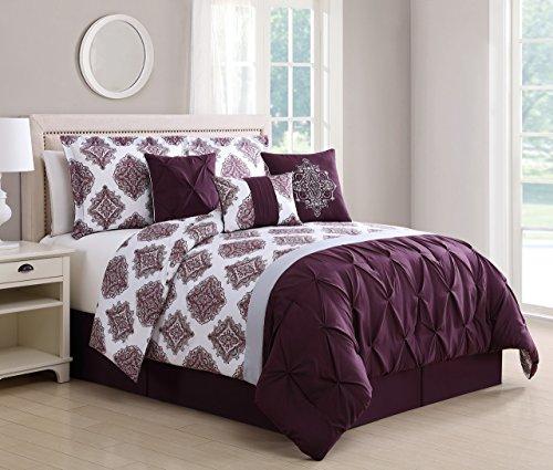 (KingLinen 7 Piece Daria Wine/Gray Reversible Comforter Set Queen)