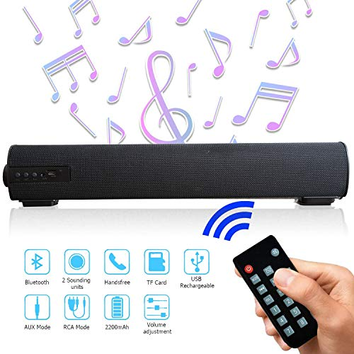Rechargeable Wireless Soundbar Stereo Bluetooth Speaker with Mic AUX FM Function, USB, Micro SD Card Support for Projector, Tablet, PC, Desktop, Smartphone, TV(with Remote) (Black) (Black)