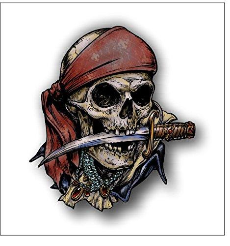 Pirate Skull w/ knife sticker / decal -