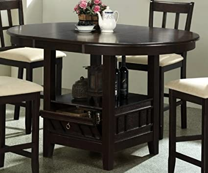 Amazoncom Counter Height Dining Table With Storage Base Dark