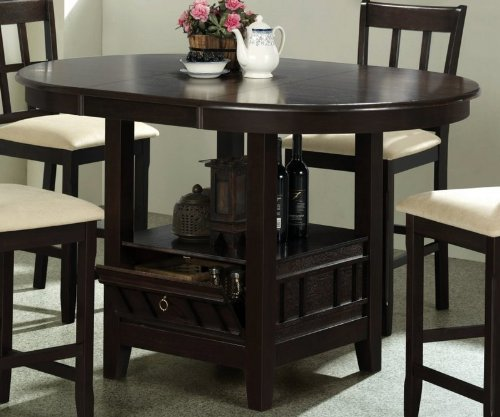 Amazon - Counter Height Dining Table with Storage Base Dark