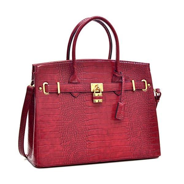 Dasein Women s Top Handle Satchel Handbags Designer Tote Purse Shoulder Bag  Faux Leather Padlock Briefcase Laptop Bag 713093db6aa69