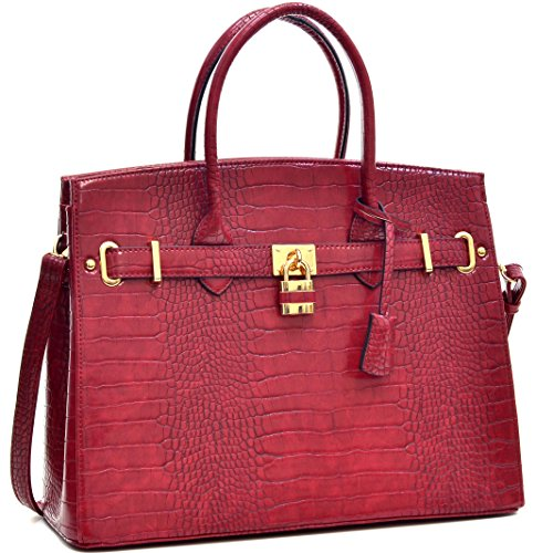 Dasein-Faux-Leather-Padlock-Structured-Briefcase-Satchel-Handbag-Tablet-iPad-Bag-Shoulder-Bag
