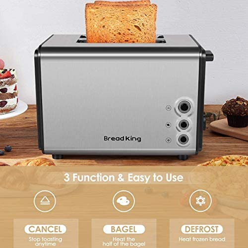 Toaster 2 Slice, Extra Wide Slots Best 2 Slice Toaster Best Rated Prime Stainless Steel with 6 Bread Shade Settings Bread Toaster and Removable Crumb Tray