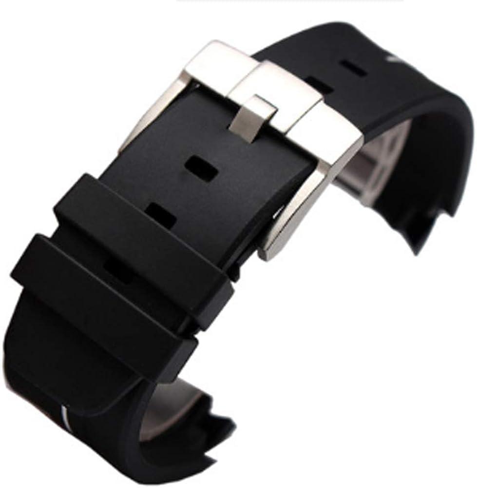[Ritchie da] 21mm nero in gomma di ricambio Watch Band cinturino in silicone con fibbia per Rolex Deepsea White