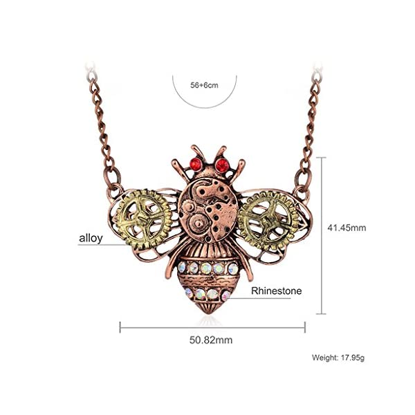 TwJim Steampunk Pendant Necklace Bee Butterfly Owl Animal Shape Unique Jewelry 5