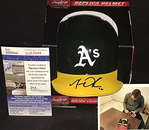(Matt Olson Oakland A's Autographed Signed Mini Baseball Helmet JSA WITNESS COA)
