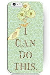 SPRAWL Cute Design 5.5 Inch Apple Iphone 6 Plus Case Hard Protective Case Quotes for Girls Funny -- I Can Do This Vintage Floral Pattern and Little Bird