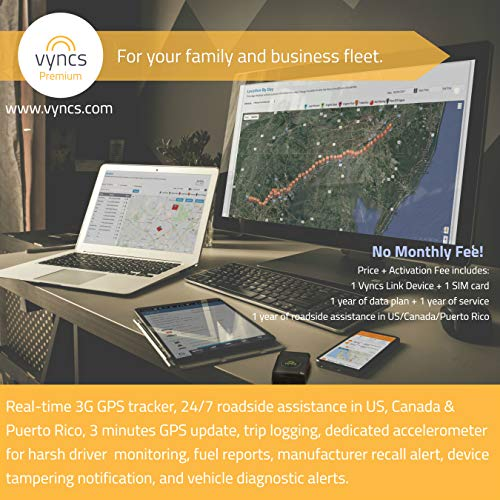 VYNCS Premium: No Monthly Fees GPS Tracker OBD 3G Vehicle