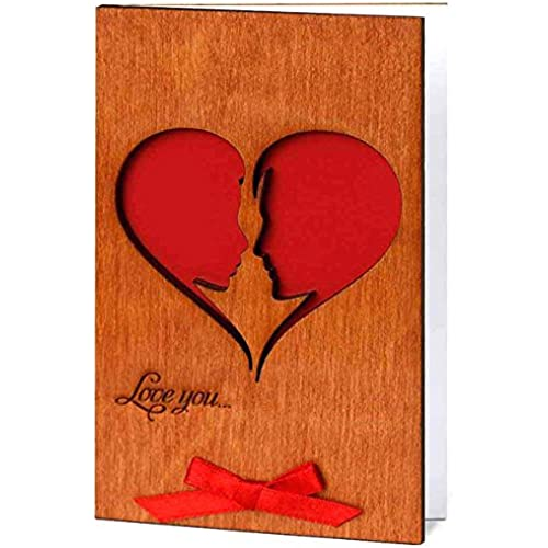 Handmade Real Wood Card Love You He and She (Soulmates) as a Big Heart Unique Gift Idea for 5th Wooden Wedding Sales