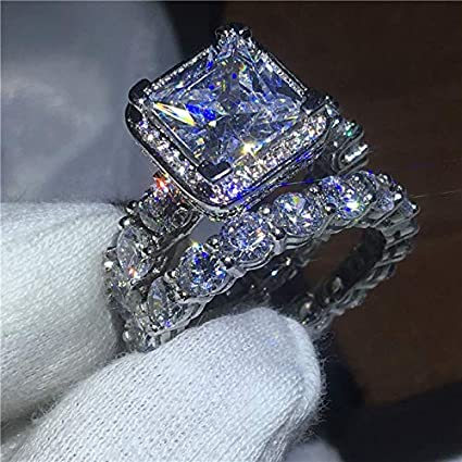 JEWH [2 Pcs/Set] Vintage Luxury Ring - Pave Setting 5A Zircon CZ