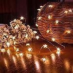 Catena Luminosa a LED, 5 Metri 50 LED Filo di Rame Forma di Stella, Alimentato a Batteria Decorativa da Interni Esterni per Natale Feste Impermeabile, Bianco Caldo