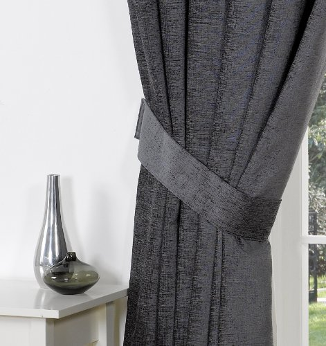 Heather plain chenille pencil pleat readymade curtains, charcoal ...