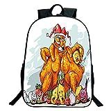 Print Black School Bag,backpacksFunny,Christmas Roasted Turkey Buddies Celebration Characters Xmas Holiday Theme Decorative,Seafoam