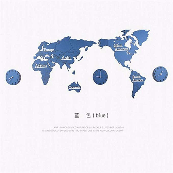 Amazon.com: Stereo 3D World map Wall Sticker Clock Wooden Wall Clock Clock 1.3 m 3 disc A: Home & Kitchen