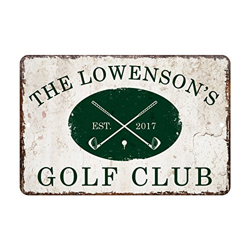 Personalized Vintage Distressed Look Golf Club Metal Room Sign