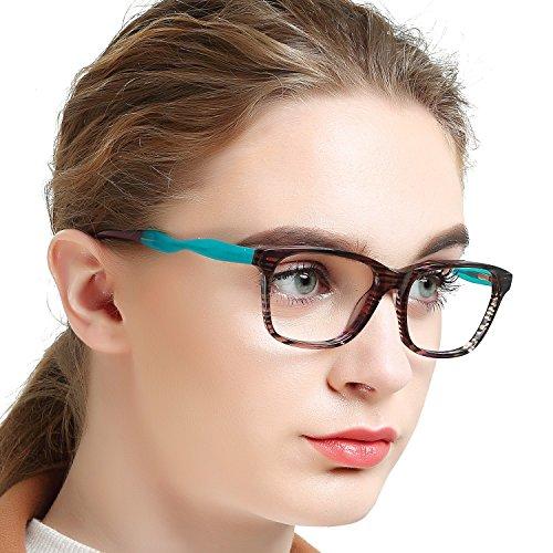 caef406b9eb 1 · OCCI CHIARI Fashion Eyeglasses with Clear Lenses Acetate Frame High  Heel (Brown Aqua Green
