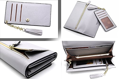 Wallets for Women, Slim Clutch Long Leather Purse Lady Checkbook Credit Card Holder with a Removable Card Slot (A-Gray) by Aiyo Fashion (Image #3)