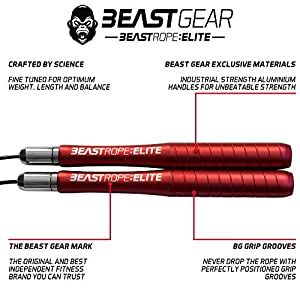 Beast Gear – Beast Rope Elite – Premium High Spec Aluminium Speed Skipping Rope for Fitness, Conditioning & Fat Loss. Idea for Crossfit, Boxing, MMA, HIIT Interval Training & Double Unders