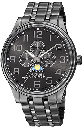 August Steiner Men's AS8174BK Black Multifunction Quartz Watch with Moon phase Indicator on Dark Gray Dial and Gray Bracelet