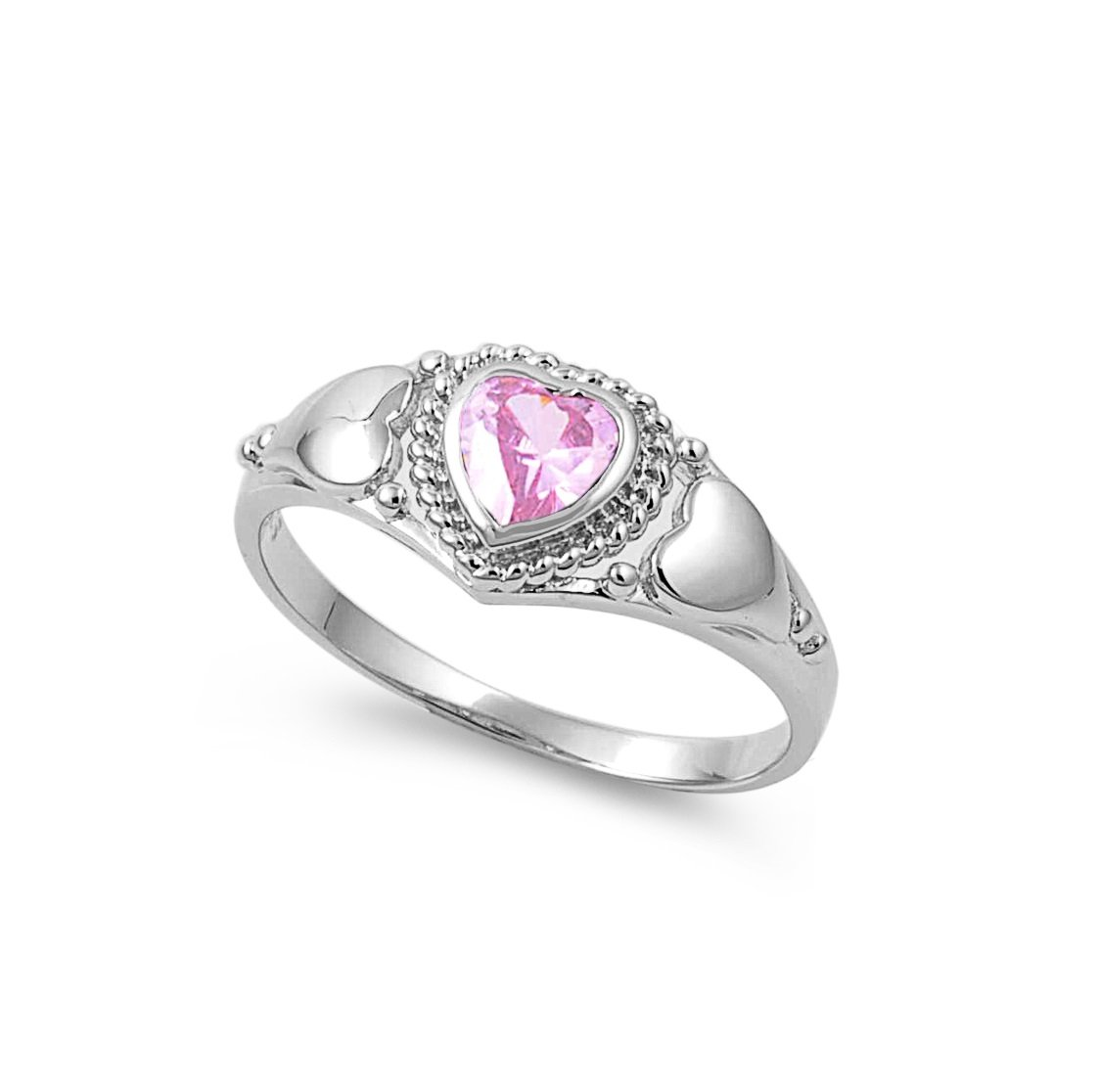 CloseoutWarehouse Heart Shaped Pink Cubic Zirconia Center Braided Heart Ring Sterling Silver Size 4