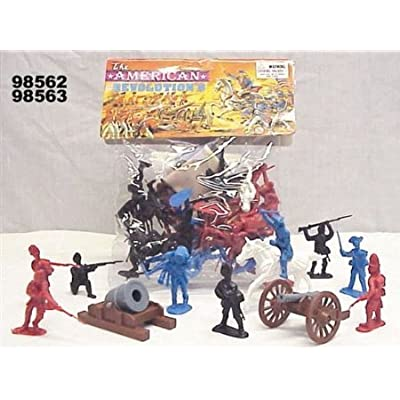 50 piece Revolutionary War Plastic Army Men 65mm Soldier Figure Toy Set: Toys & Games