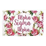 Alpha Sigma Alpha Rose Pattern Letter Sorority Flag Banner Greek Letter Sign Decor ASA