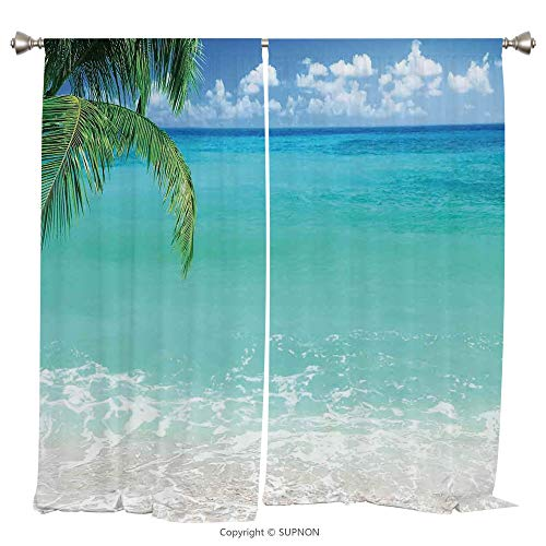 Rod Pocket Curtain Panel Thermal Insulated Blackout Curtains for Bedroom Living Room Dorm Kitchen Cafe/2 Curtain Panels/108 x 90 Inch/Ocean Decor,Exotic Lebanon Beach Panoramic Sea View With Clean Wat - Cup Rose Prairie