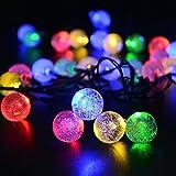 リーダーテク(lederTEK) ソーラー 防雨防水型 泡入りボール 電飾 イルミネーション LED 6m 30球 8点滅モデル クリスマス ガーデン ライト 飾り付け (カラー)