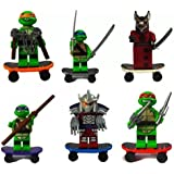 Tartarughe Ninja - Teenage Mutant Ninja Turtles - Set di 6 minifigure construzione compatibile LEGO