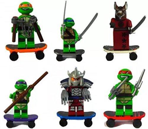 Tortugas Ninja - 6 figuras con monopatínes (compatible con ...