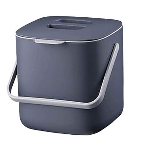 Litem Food Waste Bin with Handle, Kitchen Compost Bin Caddy, Double Bucket,  Kitchen Food Scrap Bin, Plastic, Small (Grey)