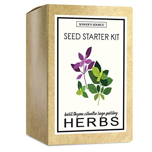 Seed Packet Markers - Sower's Source Herb Garden Starter Kit (Indoor) Natural, Organic Planting | Pots, Markers, Seed Packets, Soil Mix | Fresh Basil, Cilantro, Parsley, Sage, Thyme | Beginner Friendly