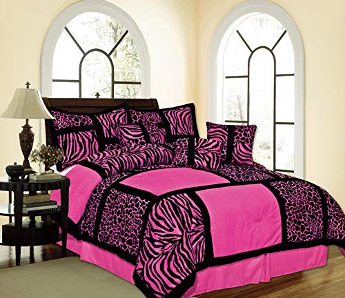 (Empire Home Safari Printed Leopard Suede Winter 7-Piece Comforter Set (Pink, King Size))