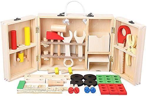 Yunt-11 Kit de Caja de Herramientas de Madera portátil, Juego de construcción y Aprendizaje de Juguetes para carpinteros DIY para niños, Juguetes de construcción educativos de Madera para niños: Amazon.es: Hogar
