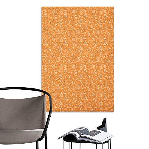 Alexandear Self Adhesive Wallpaper for Home Bedroom Decor Harvest Pattern with Pumpkin Leaves and Swirls on Orange Backdrop Halloween Inspired Orange White Children's Room Wall W32 x H48 ()