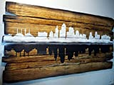 Kansas City Skyline artwork | Personalized gift, Rustic home decor, city's silhouette | Hand-painted skyline on distressed wood boards