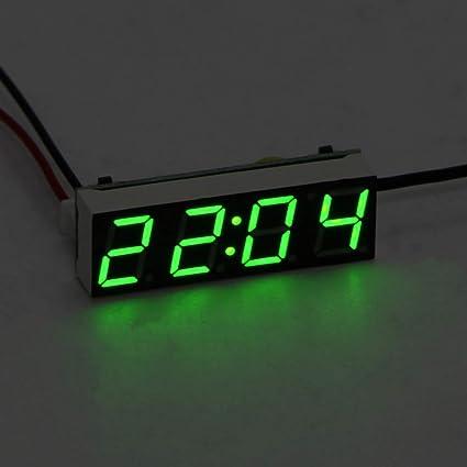 Auto Elektrische Uhr Abedoe 3 In 1 Uhr Thermometer Voltmeter Digital Timer Uhr Led Anzeige Auto Timer Mini Tragbare Auto Uhr Grün Auto